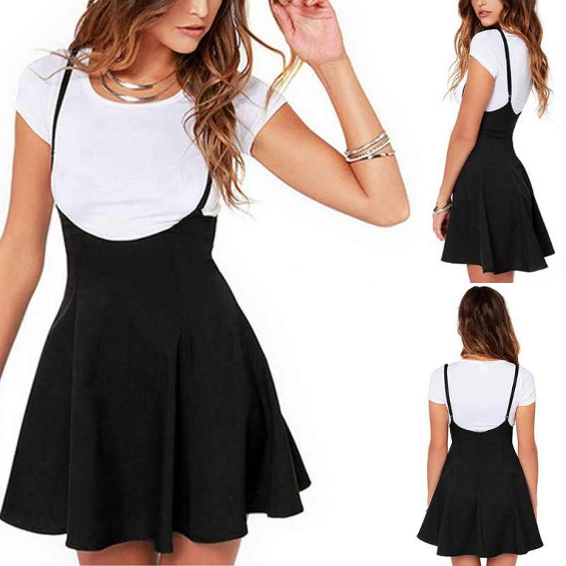 ... Suspender High Waist Skirts Ultra Thin Straps Black Skirts Sexy Womens  Mini Short Pleated Skirt School 2f0d7dfb0