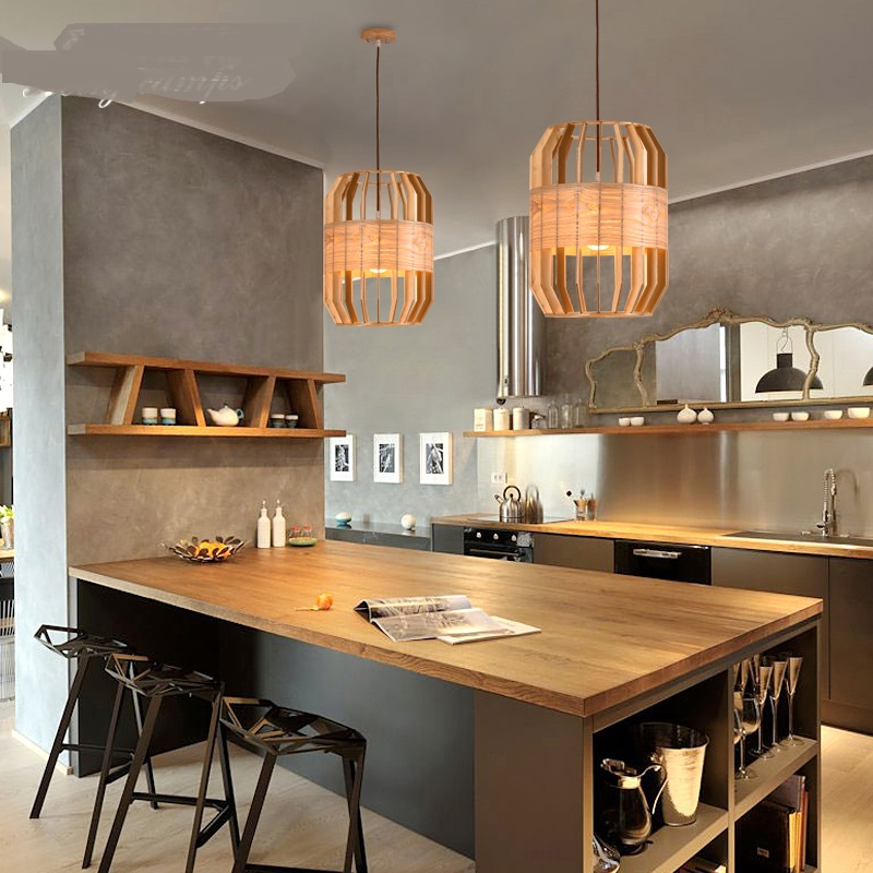 Solid wood Pendant Lights Nordic living room bar stand cage wood Pendant lamp American rustic bedroom droplight House ya72932 free shipping ems wrought iron pendant light living room lights rustic bedroom pendant lamp american 5 bqd6