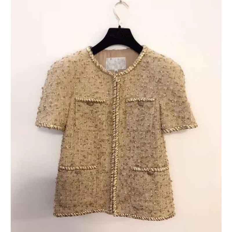 Cosmicchic Women 2 Piece Set Short Sleeve Tweed Jacket Gold Line O-Neck Coat With Pocket Elegant Designer Runway Short Skirt