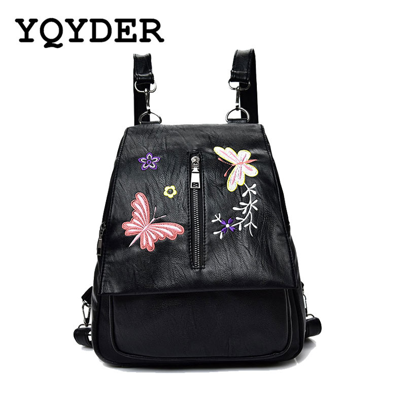 2017 New Embroidery Butterfly Women Backpack School Bags For Girls Brand Shoulder Bag Fashion PU Leather Ladies Travel Backpacks
