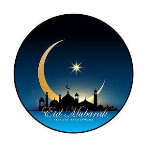 Image 4 - 80CM musulman Eid moubarak tapis 3D imprimé anti dérapant tapis de sol tapis islamique arabe Ramadan boussole tapis de prière Eid fête fournitures