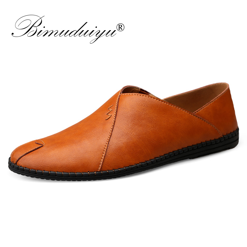 BIMUDUIYU Cow leather Mens Loafers Fashion Handmade Moccasins Soft Leather Slip On Men s Shallow Casual