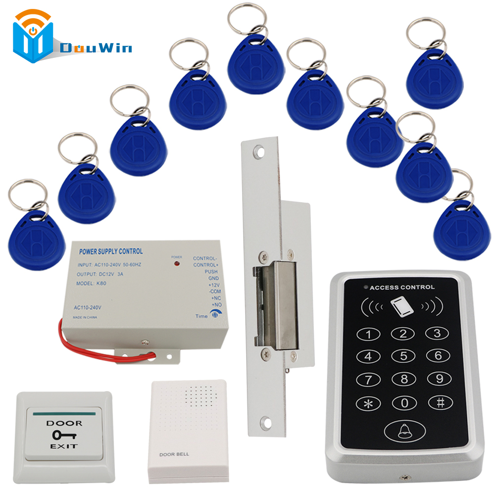 Access Control System RFID card reader access +3A/12V power supply+electric strike lock+10pcs ID key cards switch DouWin non standard die cut plastic combo cards die cut greeting card one big card with 3 mini key tag card