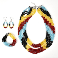 Multilayer Colorful Cutting Glass Crystal Fashion Necklace 17 25inch Bracelet 7.5inch and 1inch Earrings Making jewel H211