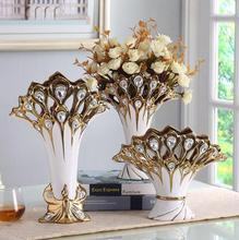 Creative vase three-piece set of european-style living room decoration ceramic