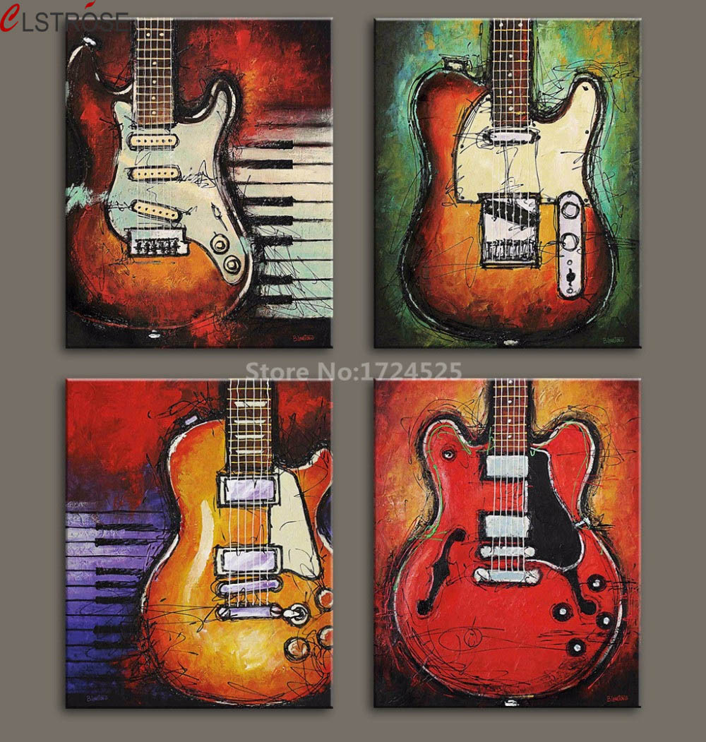 CLSTROSE 4 κομμάτι Wall Art κιθάρα Εικόνα - Διακόσμηση σπιτιού - Φωτογραφία 1