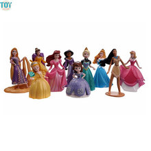 New 10 PCS Princess Doll Cinderella Snow White Rapunzel Mermaid Ariel Jasmine Belle Fairy Hair Queen Sofia Anime Toys Girl Gift(China)