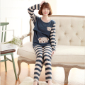 Spring and autumn large pregnant women pajamas home nursing wear, plus size maternity nursing pajamas  home wear suit 1612