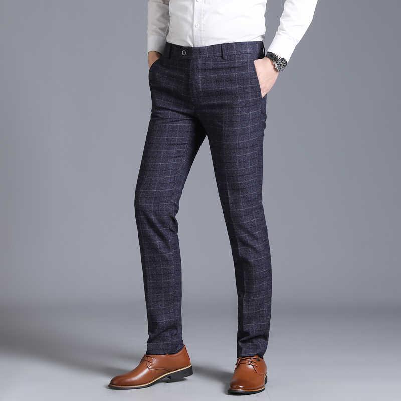 Мужской костюм, брюки, деловые повседневные обтягивающие классические брюки, Свадебный мужской Корейский вариант, клетчатые повседневные зауженные брюки