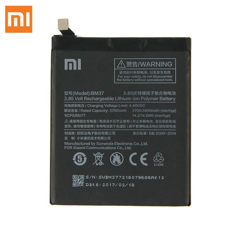 Original XIAOMI BM37 Replacement Battery For Xiaomi Mi 5S plus 5Splus Authentic Phone Batteries 3800mAh