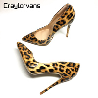 Craylorvans Top Quality 8 10 12cm Women Pumps New Fashion Leopard Color Pointed Toe High Heel