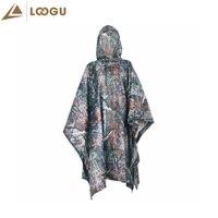 LOOGU Military Maple Leaves Camo Poncho Ligthweight Outdoor Raincoat Raincover Camping Hiking Fishing Poncho Sent Color Randomly
