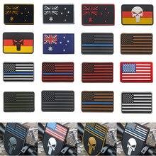 PVC Drop Adhesive Flag Armband England France Germany Italy Patch Us Pvc Badge 3D Stereo Epaulette Acrylic Badges Punisher