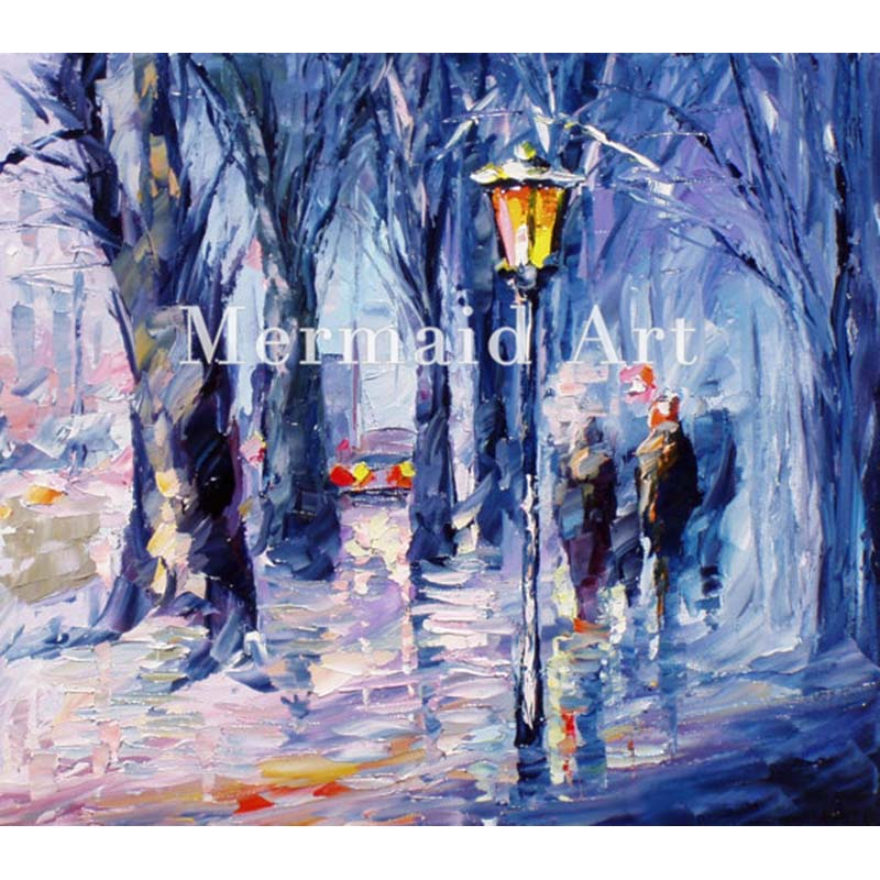 Hand Painted Landscape High Quality Abstract Palette font b Knife b font Snowing Emotions Oil Painting