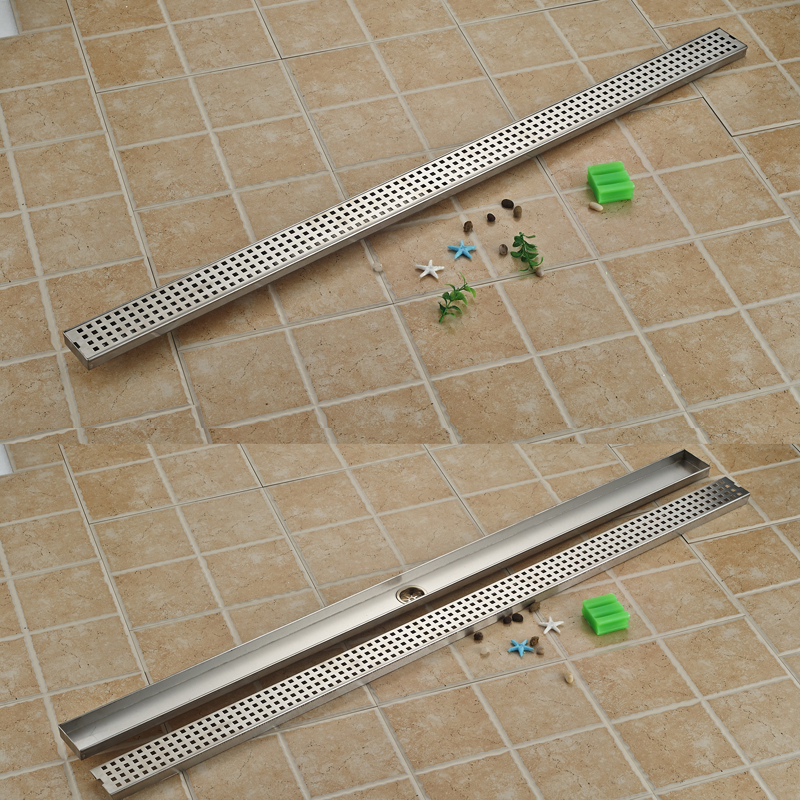 Brushed Nickel 120 cm 7 cm Long Shower Floor Drain Stainless Steel Shower Grate Floor Waste