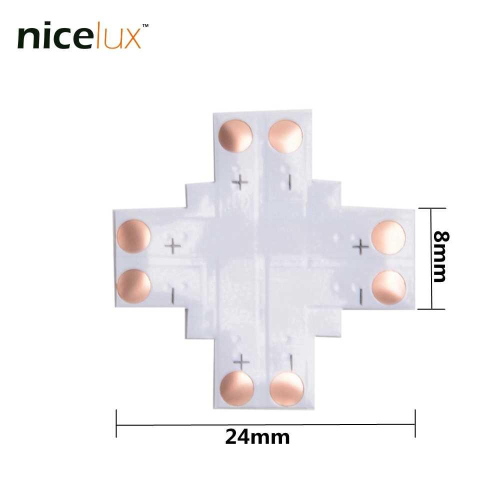 50 шт./лот светодиодные полосы угловой разъем 2 Pin 8 мм L T X форма печатной платы разветвитель разъем для SMD 3528 3014 2pin светодиодный свет ленты