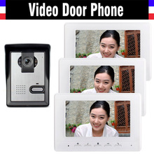 7 inch color lcd video door phone intercom doorbell System video intercom interphone 3-monitor 1-Door Camera for Home Villa