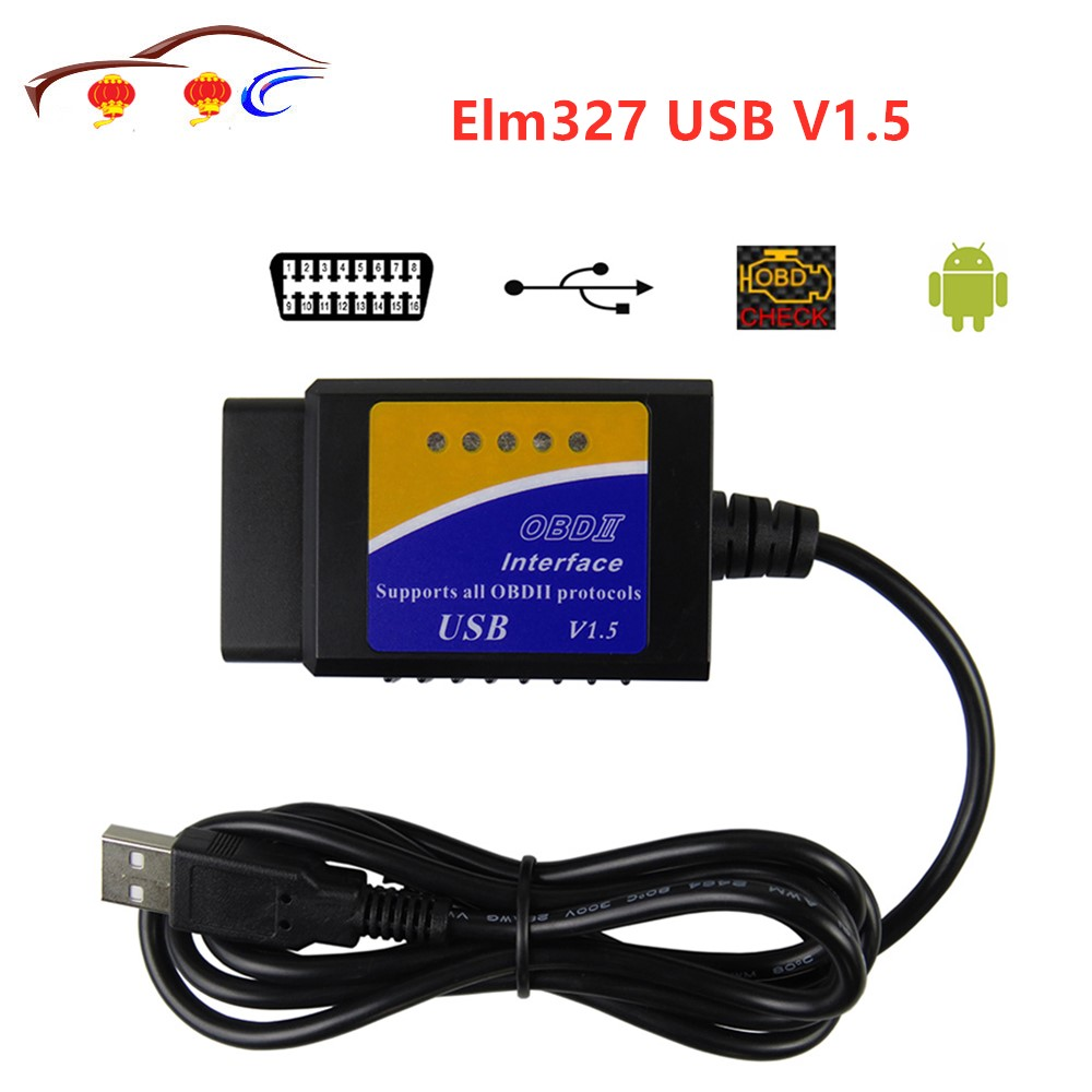 <font><b>ELM327</b></font> USB V1.5 OBD2 Car Diagnostic Interface Scanner ELM 327 V <font><b>1.5</b></font> OBDII Diagnostic Tool ELM-327 OBD 2 Code Reader Scanner image