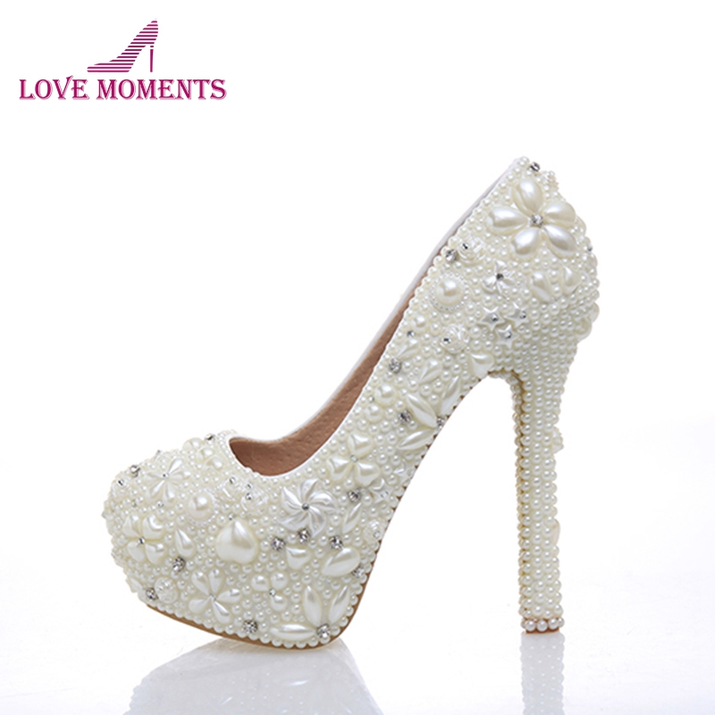 Handmade New Ivory Imitation Pearl Woman Wedding Dress Shoes Woman Bridal Shoes Lady Rhinestone Crystal Party Prom Shoes