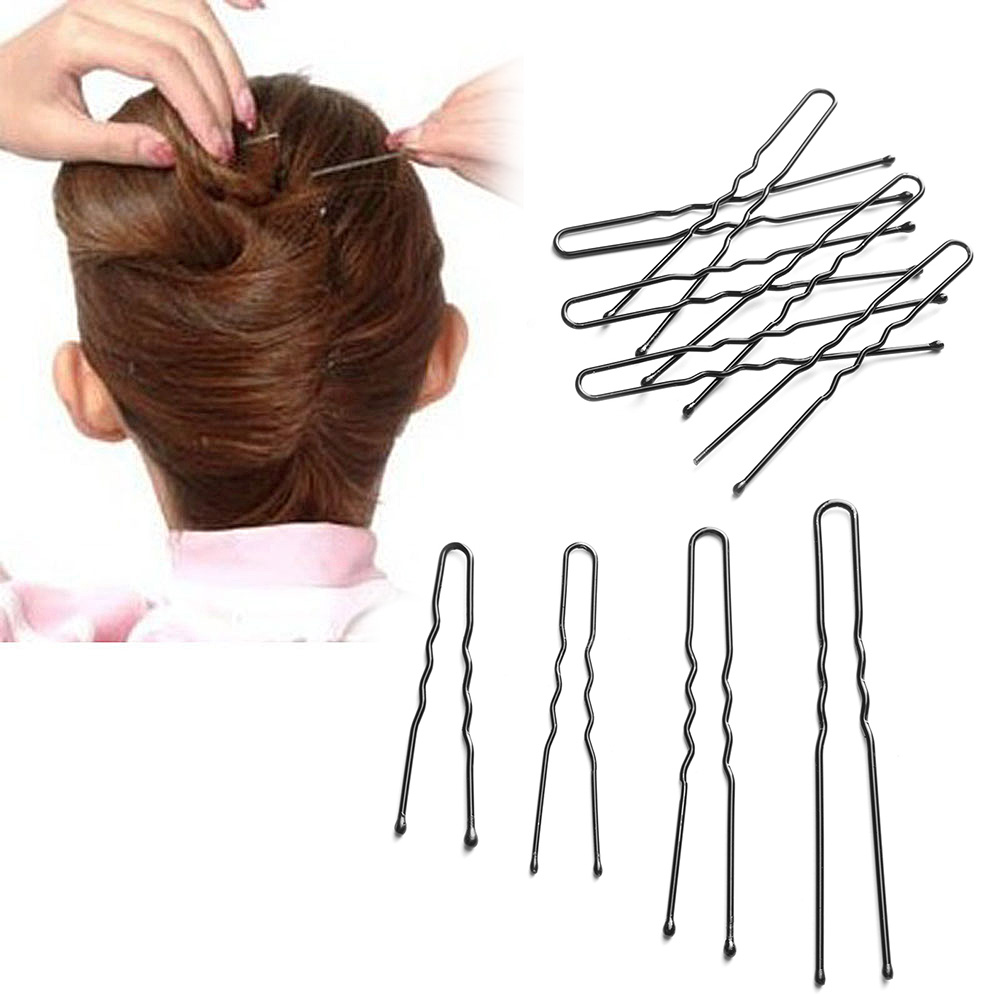 50pcs/lot Girls Hair Clips Black Plated Metal Thin U Shape Hairpins Beauty Styling Tools Professional Hairdressing Accessoriess 500pcs hair clip hair pins clips professional makeup hairdressing tools lot colors hairpins hairpin hair accessories decorations
