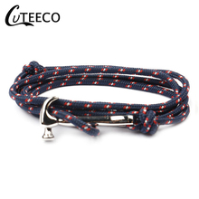CUTEECO Genuine Handmade Braided Vintage Leather Anchor Bracelets Men Stainless Steel Punk Jewelry Pulseras Hammer Bracelets mkendn 2017 fashion stainless steel anchor bracelet men black braided cowhide leather rope bracelets wrap punk charm jewelry