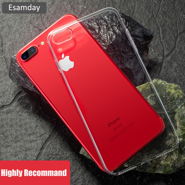 Esamday Clear Silicon Ultra Thin Soft TPU Case For iPhone 5 5s SE 6 6s 6Plus 6sPlus Transparent Phone Case For 7 7Plus 8 8Plus X