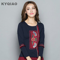 KYQIAO Plus Size Women Clothing Female Autumn Winter Mexico Style Hippie Brand Long Sleeve Dark Blue