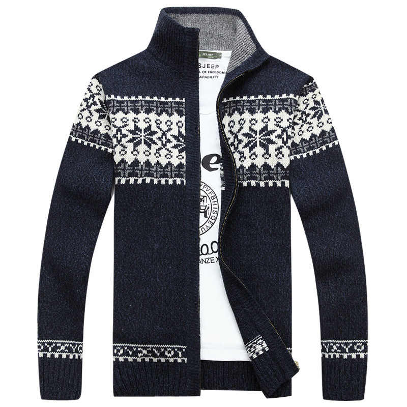 AFS джип осень-зима геометрическим принтом свитер Для мужчин кардиган masculino Стенд воротник Трикотаж Кардиган hombre плюс Размеры M-3XL