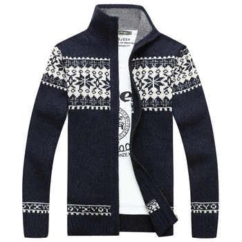 Autunno Inverno Stampa Geometrica Maglione Uomini Cardigan masculino Collare Del Basamento Cardigan hombre Plus Size M-3XL