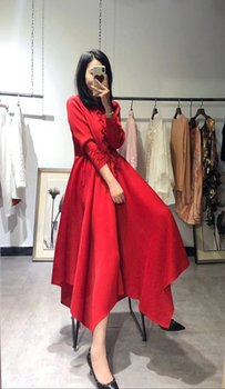 HOT SELLING  fashion solid color dress  clever lines inside long sleeve Tie dress HOT SELLING