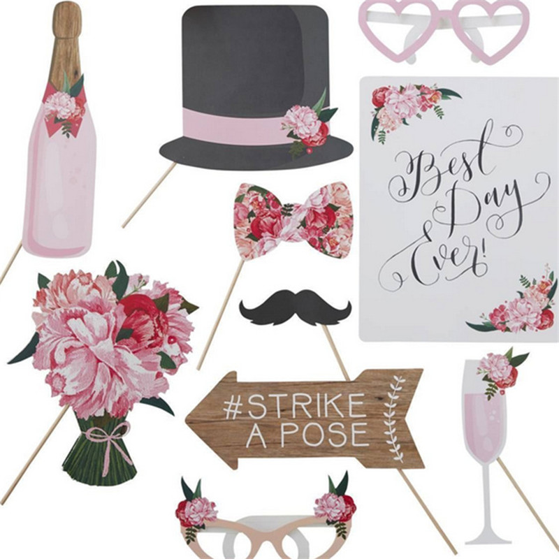 10 PCS/Set Wedding Photo Booth Props Just Married Photobooth Party Decorations Bridal Shower Bachelorette Accessories Birthday