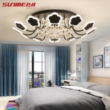 все цены на Modern Crystal Ceiling Lights White Flower Creative LED Crystal Lamp For Living room Bedroom Kitchen Dimmable Dining room Light онлайн