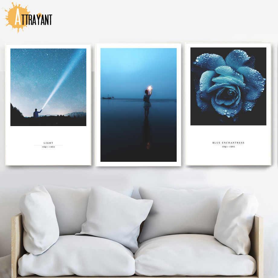 Biru Enchantress Gadis Bunga Gunung Dinding Seni Lukisan Kanvas Nordic Poster dan Cetakan Dinding Gambar untuk Living Room Dekorasi