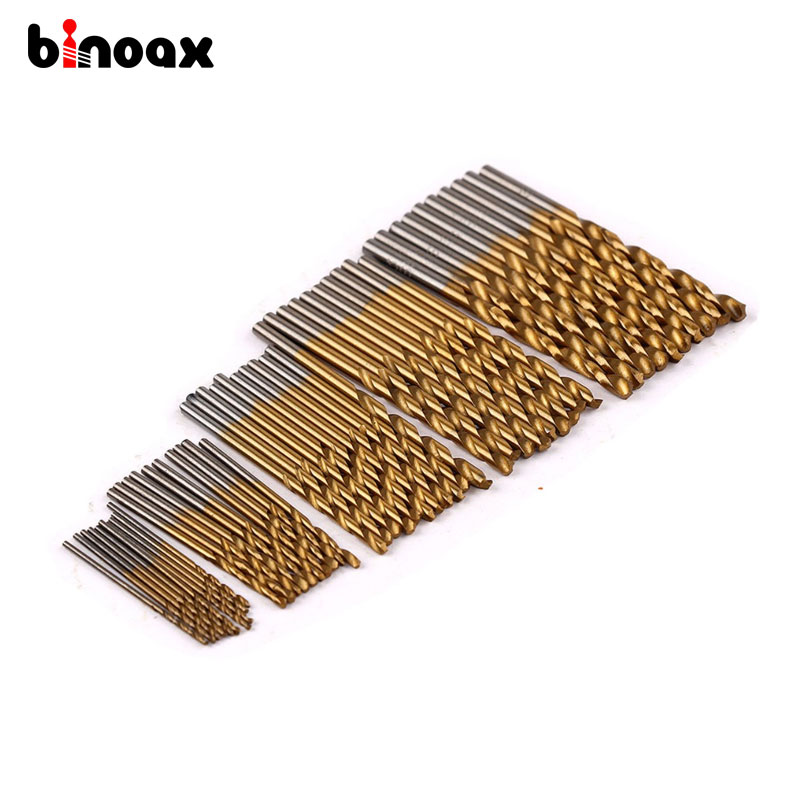 Binoax 50PCS 1/1.5/2/2.5/3mm Titanium Coated HSS High Speed Steel Drill Bit Set Titanium For Wood Plastic Twist Drill Bit Set #P free shipping of 1pc hss 6542 made cnc full grinded hss taper shank twist drill bit 11 175mm for steel