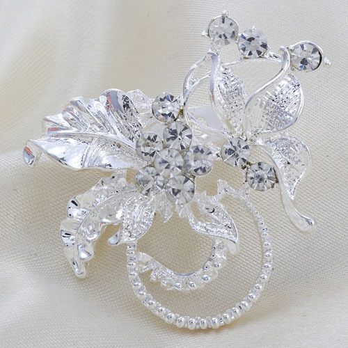 New Arrived Silver Rhinestone Flower Leaves High Quality Wedding Party Brooches Men
