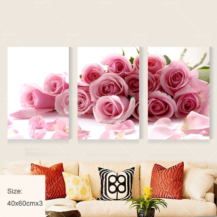 3 Panel Modern Printed Rose Flower Painting Canvas Cuadros Flowers ...