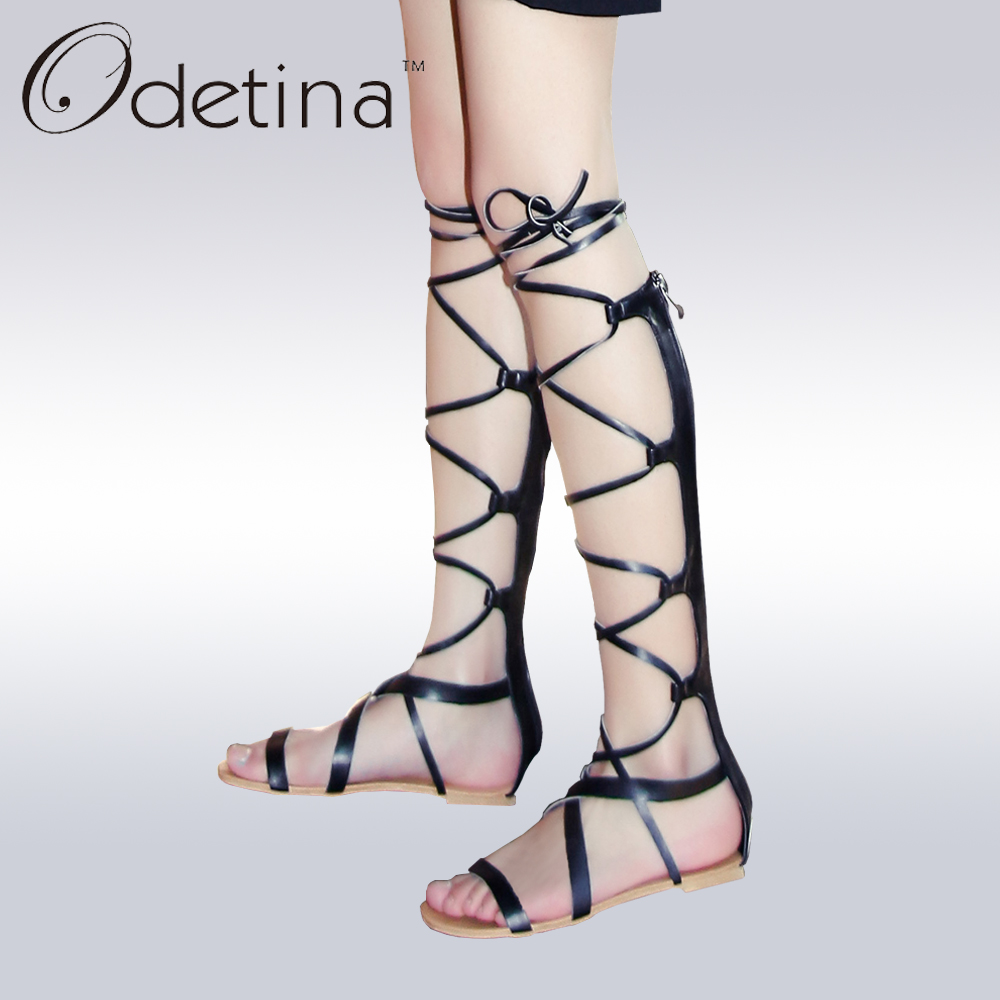Odetina 2017 New Gladiator Sandals Women Flat Knee High Cross Tied Bandage Sandals Lace Up Summer Boots Shoes Big Size 32-48 new fashion 2017 army green sandales talon femme lace up high heels party shoes women cross tied strappy gladiator sandals women