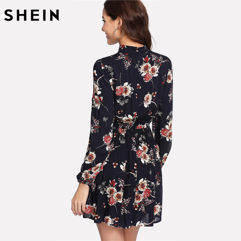 SHEIN Autumn Floral Women Dresses Multicolor Elegant Long Sleeve High Waist A Line Chic Dress Ladies