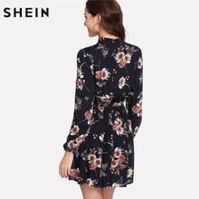 SHEIN Autumn Floral Women Dresses Multicolor Elegant Long Sleeve High Waist A Line Chic Dress Ladies Tie Neck Dress