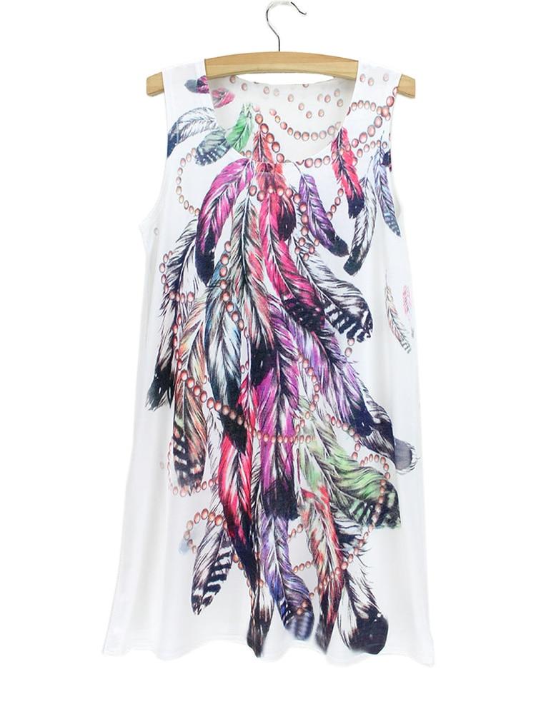 novelty vogue feather pattern tank dress women 2015 summer
