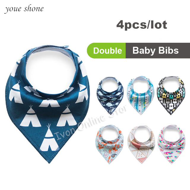 Promotion!!! 0-3Y 2018 Super Cute Ins Baby Bandana Bibs 4pcs/lot Newborn Infant Feeding Triangle Fox cartoon Burp Cotton Clothes