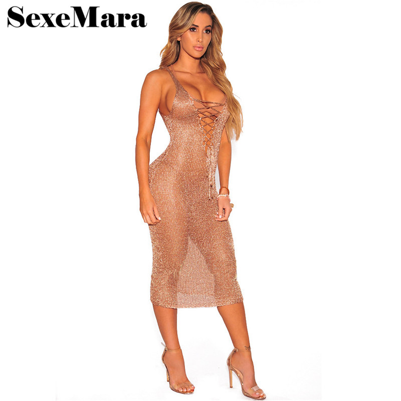 Rose Gold Sexy Knitted Dress Club Party Deep V Neck Lace Up Hollow Out Sundress Transparent Midi Bandage Sweater Dress D48-AZ65 white lace hollow out deep v neck party dresses
