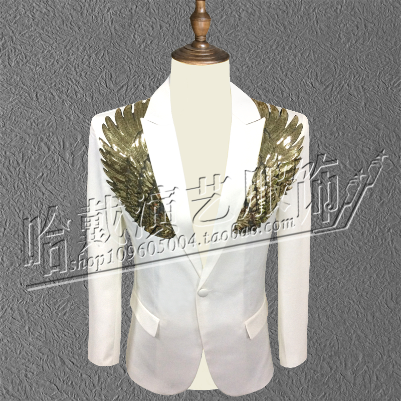 S-6XL ! 2018 The new sequins splicing costumes Evening suit male singer DS performance Tide male fas The singers clothing