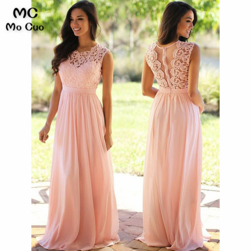 Elegant 2019 Blush Pink   Bridesmaid     Dresses   Long Scoop Sleeveless Chiffon Illusion Formal Wedding Party   Dress     Bridesmaid     Dress