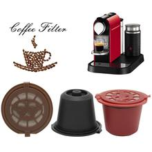 цена на Refillable Reusable Nespresso Coffee Capsule With 1PC Plastic Spoon Filter Pod For Original Line Siccsaee Filters