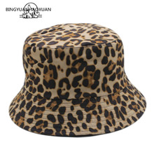 2019 New Fashion Leopard Print Bucket Hat Fisherman Foldable Outdoor Travel Sun Cap Hats High Quality For Men And Women