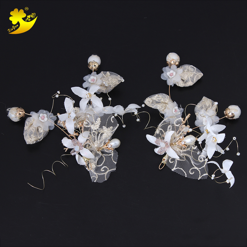 Xinyun New Women Lady Hair Clip Floral Head Piece Crystal Flower Bride Hair Pins Wedding White Bridal Hairs Accessories Gift