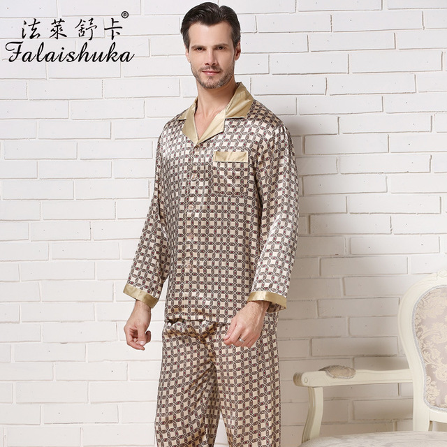 Marca 100% Hombres De Seda Falaishuka Pijamas de 2017 Nuevos Hombres de Manga Larga Pijama Establece Geométrica Ocasional Da Vuelta-Abajo ropa de dormir S8805