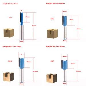 Image 2 - Фреза по дереву с хвостовиком 8 мм, насадка для прямой концевой фрезы, триммера, для очистки, утапливания, отделки, угловой круглый корпус, биты, инструменты, фреза, 1 шт.