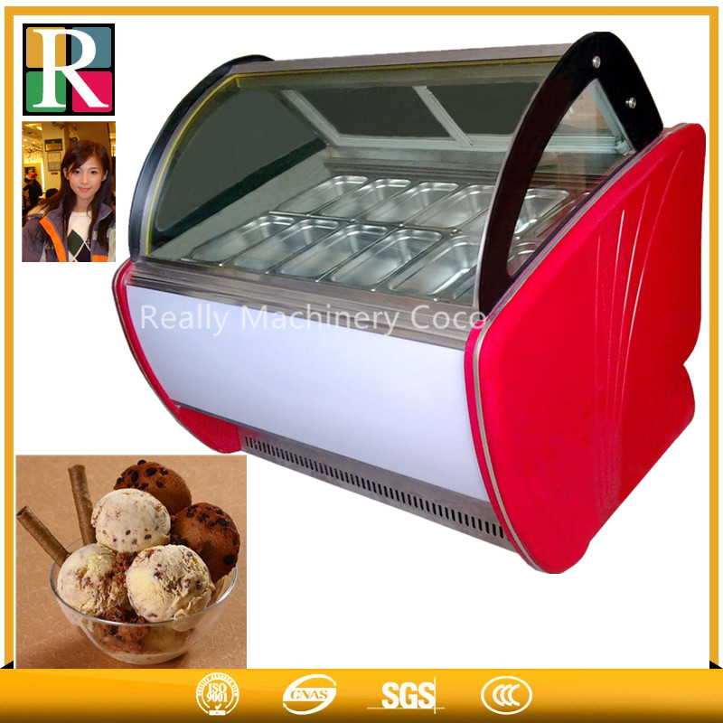 Ice cream popsicle display fridge with stainless steel pans